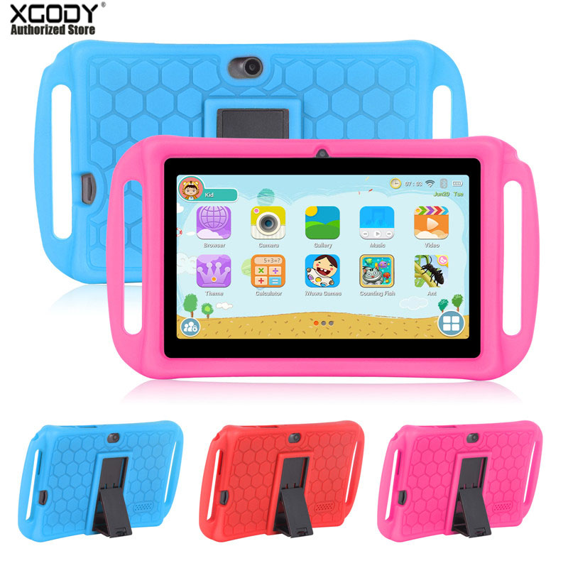 Xgody 7 Inch Children Tablet For Kids Android 8.1 1GB 16GB HD Dual Portable Camera Tablet T702 PC Tablets Back Cover Bracket
