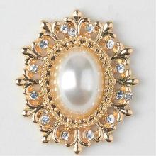 10 pçs/lote oval ouro metal pérola strass flatback botão arcos centro botões decorativos enfeites de cabelo diy artesanato suprimentos