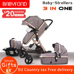 Ce padrão 3 em 1 carrinhos de bebê e cesta de dormir carrinho de bebê recém-nascido 0 36 36 meses bebê carrinho de bebê quadro ouro hjbb