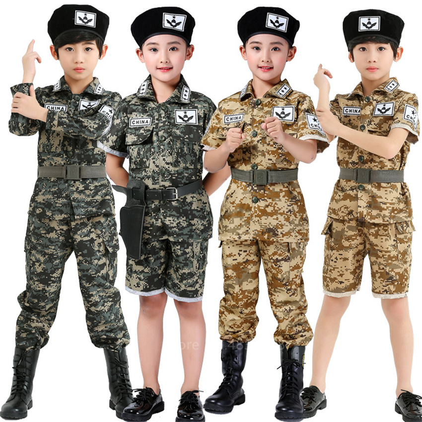 Boys Camouflage Clothing Kids Army Military Scouting Uniform Special Forces Halloween Carnival Party Tactical Costumes