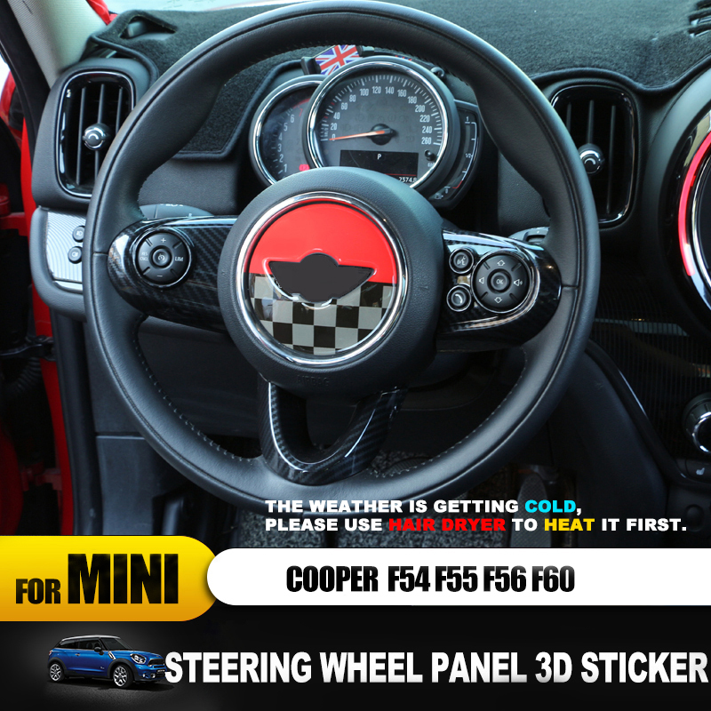 Hot For Mini Cooper F54 F55 F56 F57 F60 Countryman Clubman Decorative Stickers Steering Wheel Panel 3D Epoxy Sticker Car Styling
