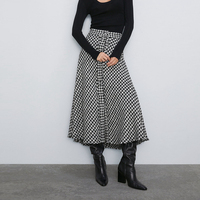 Fashion Autumn Winter Woolen Plaid Long Skirts High Waist A line Office Lady Midi Patchwork Skirt For Womens WB9620