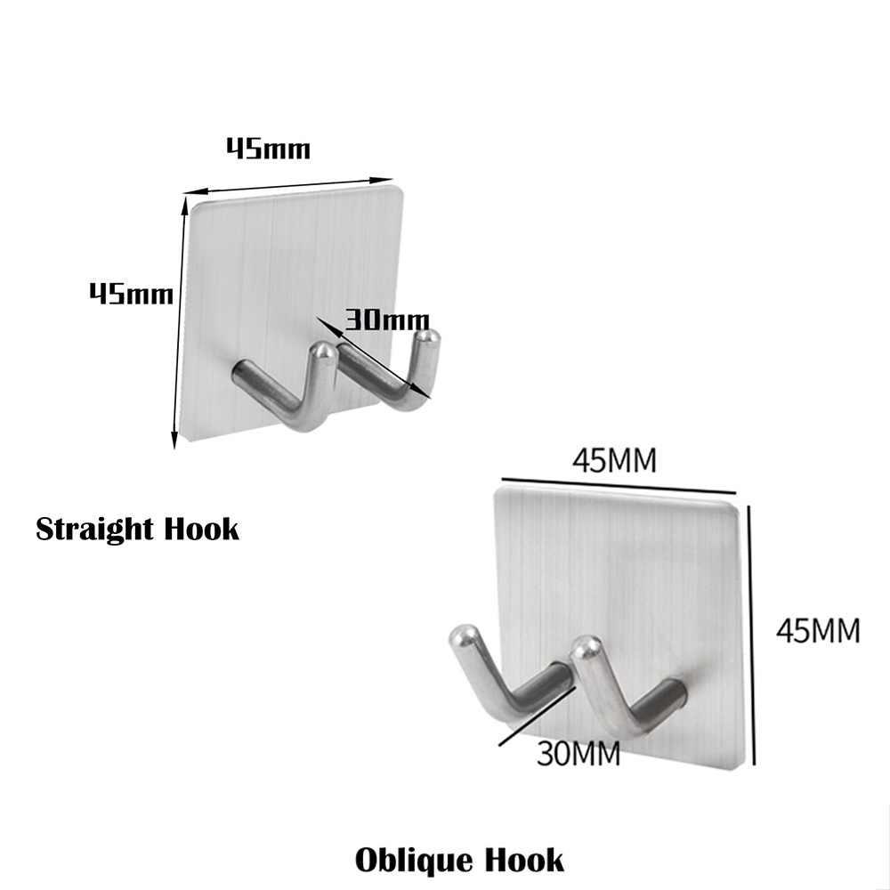 Stainless Steel Self Adhesive Wall Towel Hooks Hanger Holder Bathroom Kitchen