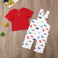0-4years Newborn Outfits Short Sleeve Button Red T-Shirt Boys Tops Dinosaur Overalls Suspenders Pants Baby Boy Clothes Set