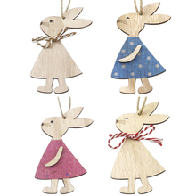 Pendant Easter-Decoration Hanging-Crafts Wooden Bunny Home