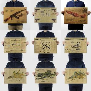 Image 2 - About  Famous Weapon Design /GUN fighter/kraft paper/bar poster/Retro Poster/decorative Painting 51x35.5cm Wall Sticker
