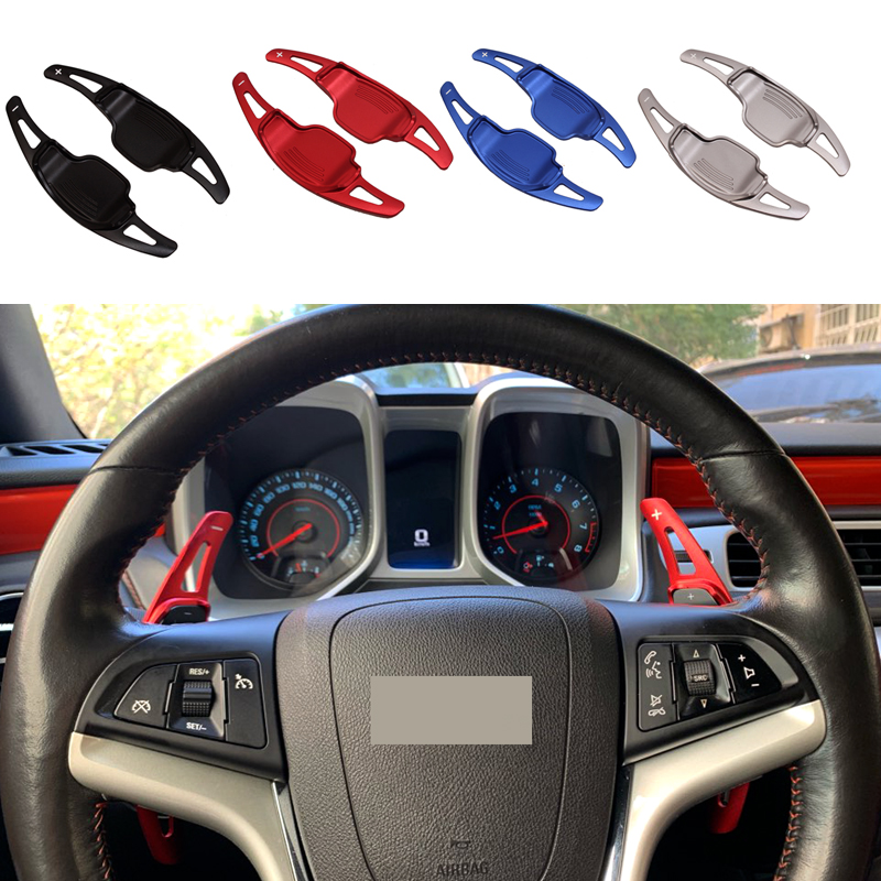 2pcs Car Steering Wheel Shift Paddle Shifter Extension For Chevrolet For Camaro 2012-2015 Aluminum Alloy Sticker Decoration
