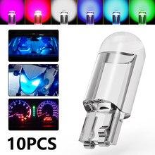 10 Pcs Multicolor T10 W5W 168 COB LED Car Wedge Parking Light Side Door Bulb Instrument Lamp Auto License Plate Light 6000K