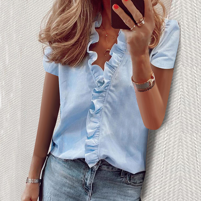 Daisy Summer Blouse Women 2020 Shirts Short Sleeve Blouse Shirt Elegant Fashion Ruffle V neck Womens Tops and Blouse Tunic New(China)