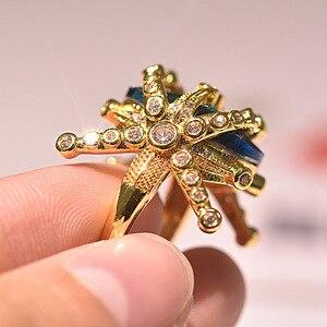 14 к желтое золото кольцо с сапфиром Для женщин Павлин кольцо с голубым топазом изысканные украшения Bizuteria Anillos обручальное кольцо с драгоценным камнем