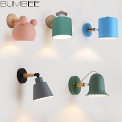 Nordic kinkiet sypialnia Macaron proste nowoczesne przy łóżku lampa osobowość kreatywna lampa z litego drewna nawy na ścianę w korytarzu