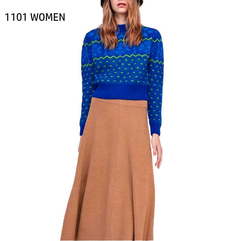 Za nova primavera estilo casual feminino azul o-pescoço manga comprida impressão de malha blusas moda feminina topos roupas de mulher jérsei