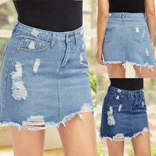Women's Summer Hole Denim Basic Pocket Jeans Skirt 2020 Casual Slim Mid Waist Li