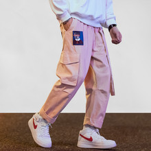 Japanese Streetwear Cargo Pants Men Women Ribbon Letter Embroidery Hip Hop Joggers Trousers Casual Pink Harem Pants