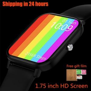 Image 5 - ساعة ذكية مع شاشة IPS مقاس 1.75 بوصة للرجال والنساء ، مقاومة للماء ، مع التحكم في معدل ضربات القلب وضغط الدم ، لأجهزة Android و Iphone