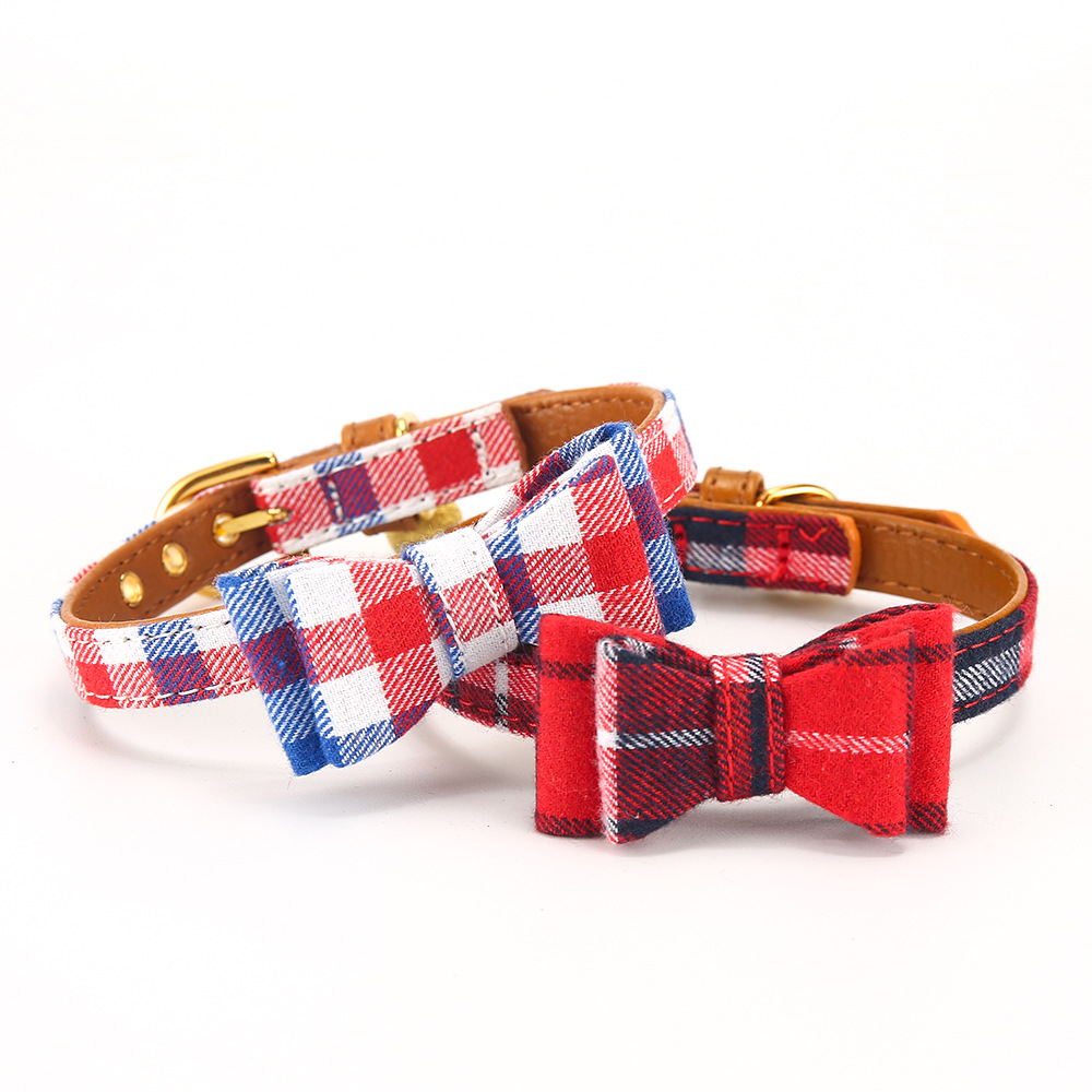 New Style Plaid Bow Cat Neck Ring Small Dogs Dog Neck Ring Dog Traction Rope Cute Bell Pet Supplies Accessories
