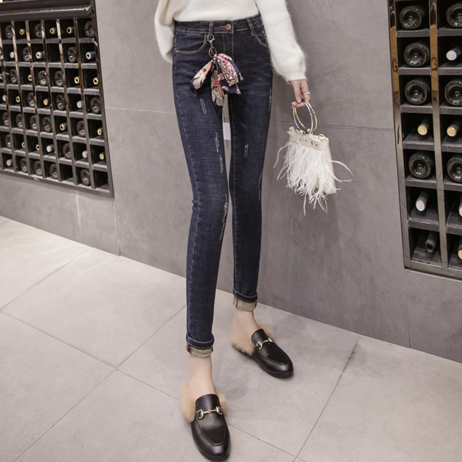 2018 Autumn And Winter Fashion High-waisted New Style Plus Velvet Jeans Elasticity Revers Students Base Skinny Pencil Pants Wome
