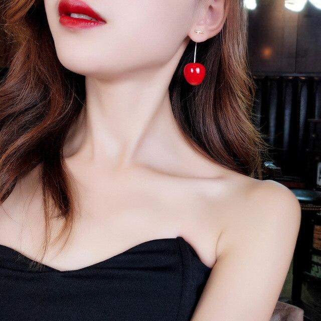 2020 New red cherry earrings for women cute earings Senior luxury earrings trendy korea jewelry.jpg 640x640 - 2020 New red cherry earrings for women cute earings Senior luxury earrings trendy korea jewelry