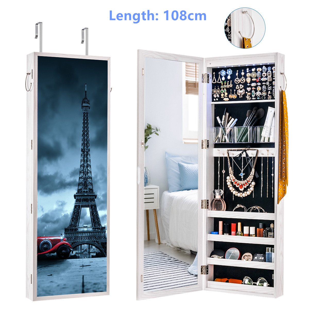 Multifunctional LED Jewelry Mirror Cabinet Wall Door Mounted Jewelry Cabinet Lockable Armoire Organizer Dresser Mirror with LED 10