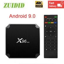 Smart tevê box x96 mini caixa de tv android 9.0 s905w quad core 2.4g sem fio 4k wifi rápido media player tv conjunto caixa superior