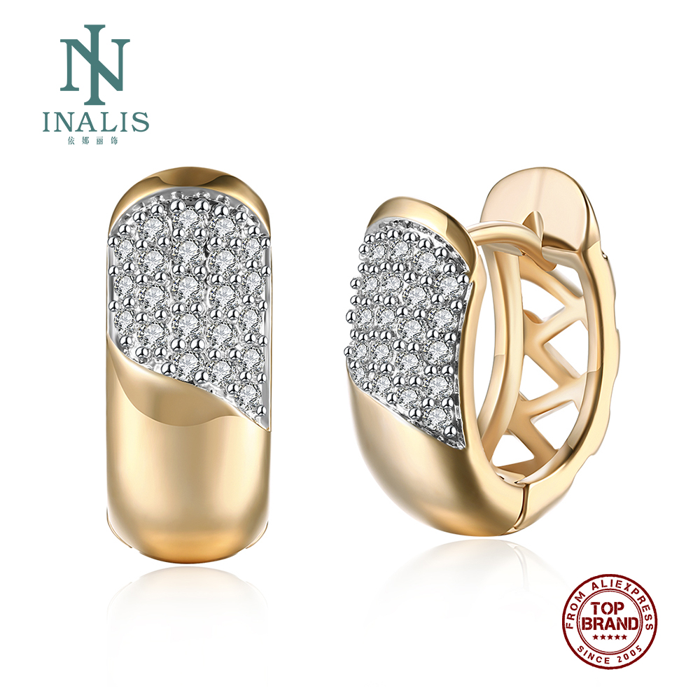 INALIS Earrings For Women Champagne Gold Geometric Shape Copper Earring Inlaid Cubic Zircon Romantic Female Fashion Jewelry 2021