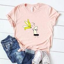 Camiseta de algodão feminino casual com casca de banana de harajuku com camiseta de kawaii fuuny, navio da gota