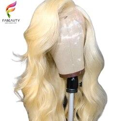 613 блонд парик из натуральных волос перуанские волнистые волосы на кружеве передние парики предварительно сорванные 13*4 Glueless 613 парики на шн...