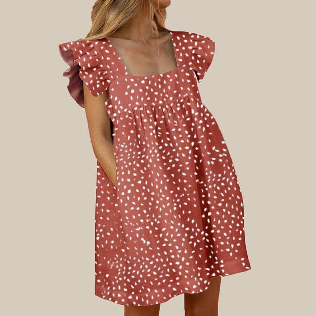 Femmes col carré robe de soirée élégant Kawaii papillon manches imprimer robe de plage été décontracté poche ample Mini robe Vestidos