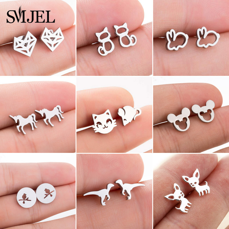 SMJEL Cute Animal Korean Earrings For Women Pendientes Fashion Jewelry Earings Statement Butterfly Paw Mickey Earring Party Gift
