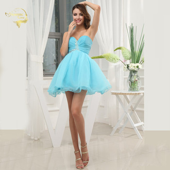 High School / University Mini Cocktail Party Ball Gown Sexy Prom Dress Sweetheart Beaded Short Homecoming Dresses 2019 HCK29012