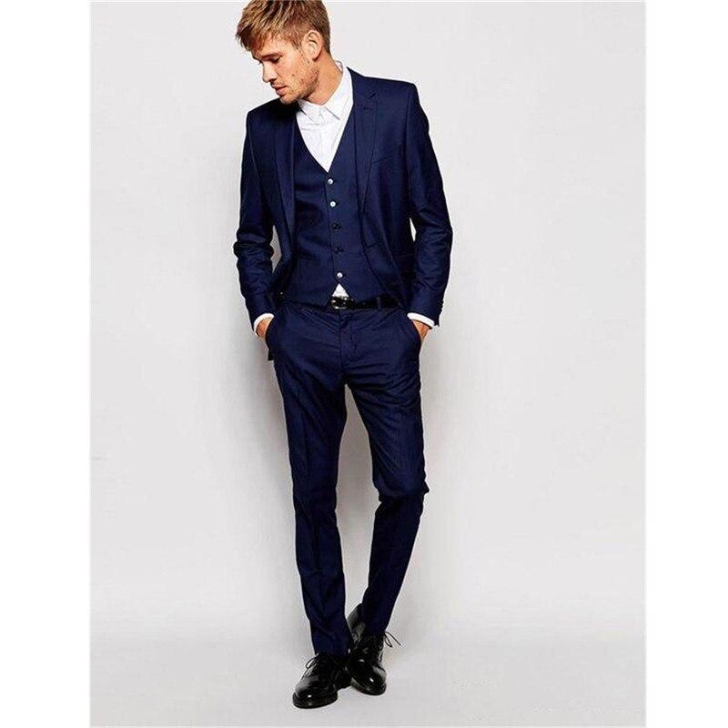 Classy Groomsmen Wedding Tuxedos Slim Fit Suits Groom Men Business Suit Three Pieces Tailor-made (Jacket+Pants+Vest)