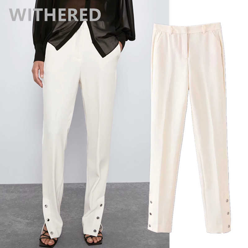 Withered 2020 Spring England Office Lady Buttons In Leg Open Suits Pants Women Pantalones Mujer Pantalon Femme Trousers Women