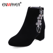 ENMAYER Nubuck Round Toe Square Heel Ankle Boots for Women Flock Zip High Solid Flower Red PU Winter Shoes Fashion