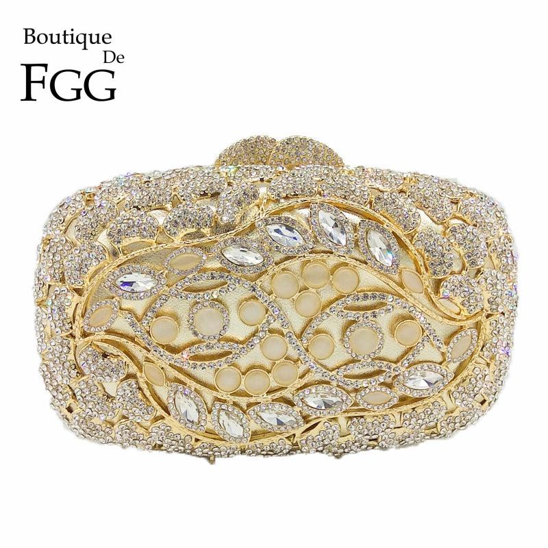 Boutique De FGG Bling Shiny Crystal Evening Clutch Bag Women Metal Minaudiere Clutches Gold Opal Stones Wedding Purse Bridal Bag