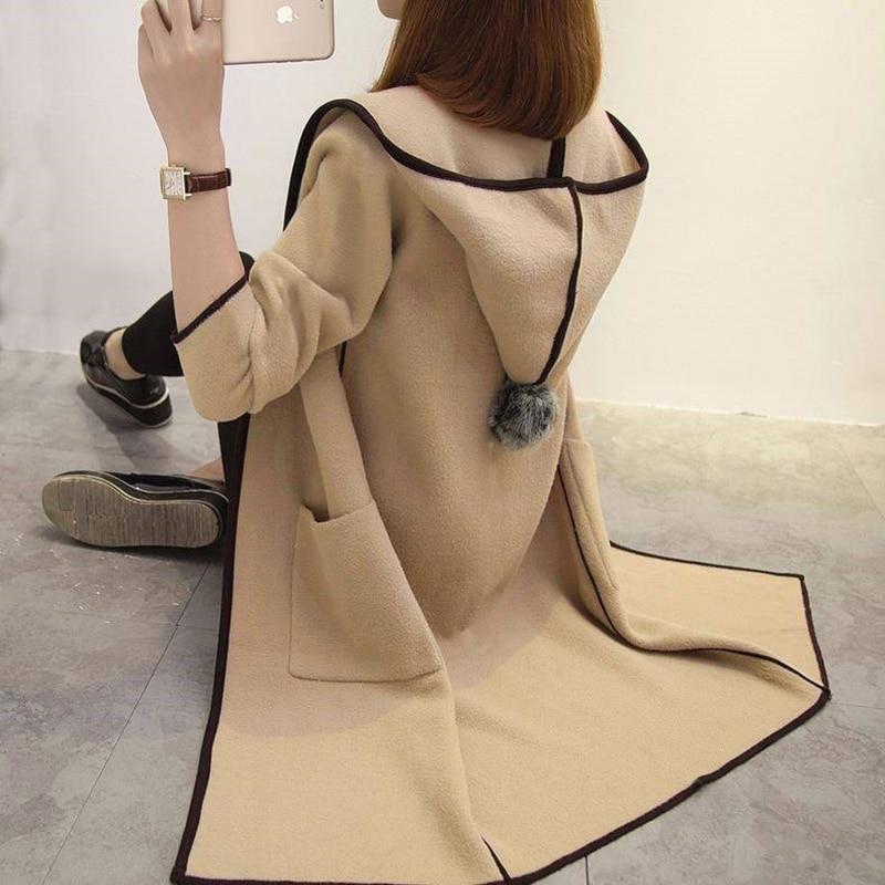 2020 Autumn Winter Windbreaker Jacket Plus Velvet Solid Color Long Paragraph Wild Loose Long-sleeved Jacket Female
