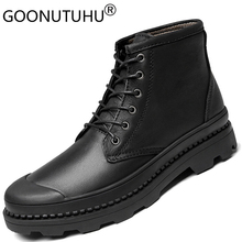 Winter men's ankle boots genuine leather work or safety shoes army boot man shoe snow tactical military boots for men size 38-47 spring autum army combat boots leather men work safety shoe steel toe security shoes for men winter snow boot ankle suede