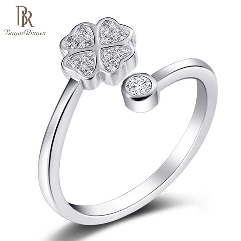 Bague Ringen Good Sellers Silver 925 Jewelry Finger Ring Female Style FOR Business Anniversary Day Gift Lucky Clover Simple Gift