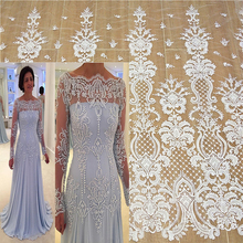 European and American fashion beaded sequin mesh embroidery high-end export fabric wedding dress fabric veil material white lace