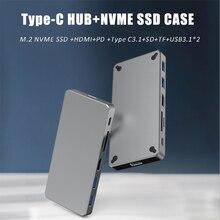 Hub USB C 6/7 In 1 con Type-C3.1 custodia SSD M.2 NVME/M.2 NGFF PD100W HDMI-compatibile 4K USB3./10G per Macbook Pro Splitter Hub