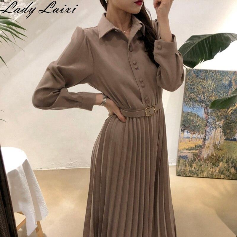 Винтажное Плиссированное однотонное платье с поясом, женское элегантное офисное платье для девушек, рабочая одежда, платья с длинным рукавом, женское весеннее платье миди для вечеринок