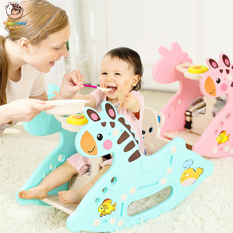 Cute Plastic Animals Rocking Hourse With Music Dual Use Rocking Horse Seat Dual Purpose Kids Ride 1-6 Years Old Baby Toys