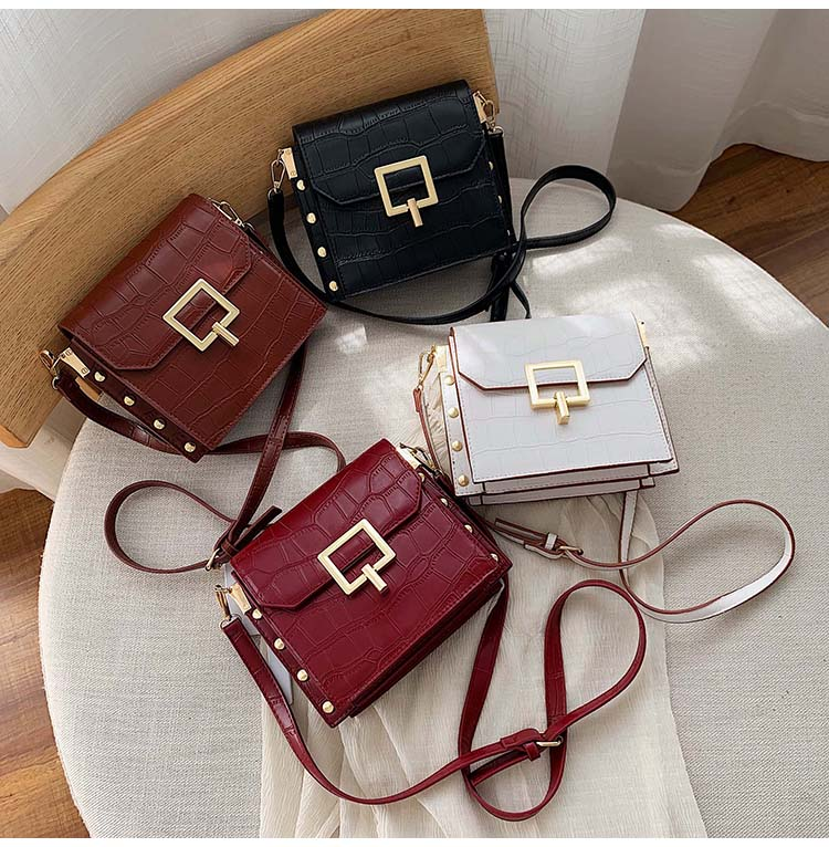Fashion Rivet Crocodile Pattern Bags For Women Chic Shoulder Crossbody Bags Casual Pu Leather Handbags Party Clutch Purse 2020