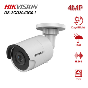 Hikvision 4MP Bullet PoE IP Camera DS-2CD2043G0-I Onvif H.265+ Home/Outdoor IP67 Video Night Vision CCTV Security Surveillance new english version free shipping ds 2cd2055fwd i replace ds 2cd2055 i 5mp network bullet camera support on board storage