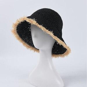 Female Summer Floppy Sun Hat Raffia Fringed Edging Beach Hat Hand-crocheted UV bucket Sunscreen Caps Wholesale
