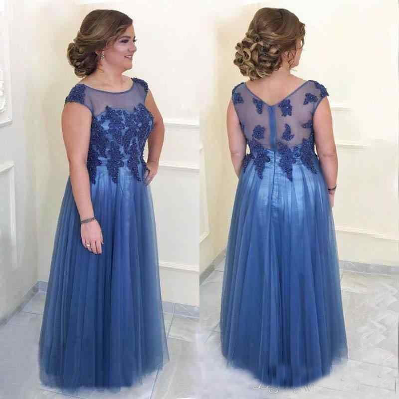 Blue Illusion Mother Of The Bride Dresses Plus Size Beading Appliques  Floor Length  Mothers Dresses For Wedding