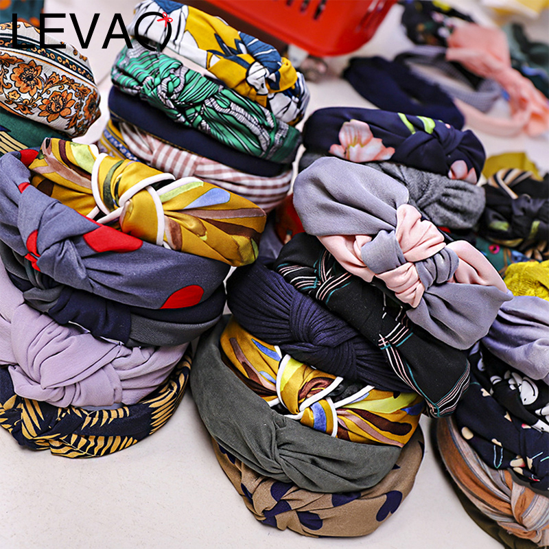 LEVAO Solid Female Bezel Head Band Knotted Headband Baby Turban Hairband For Women Lady Bow Hair Hoop Hair Accessories Headwear