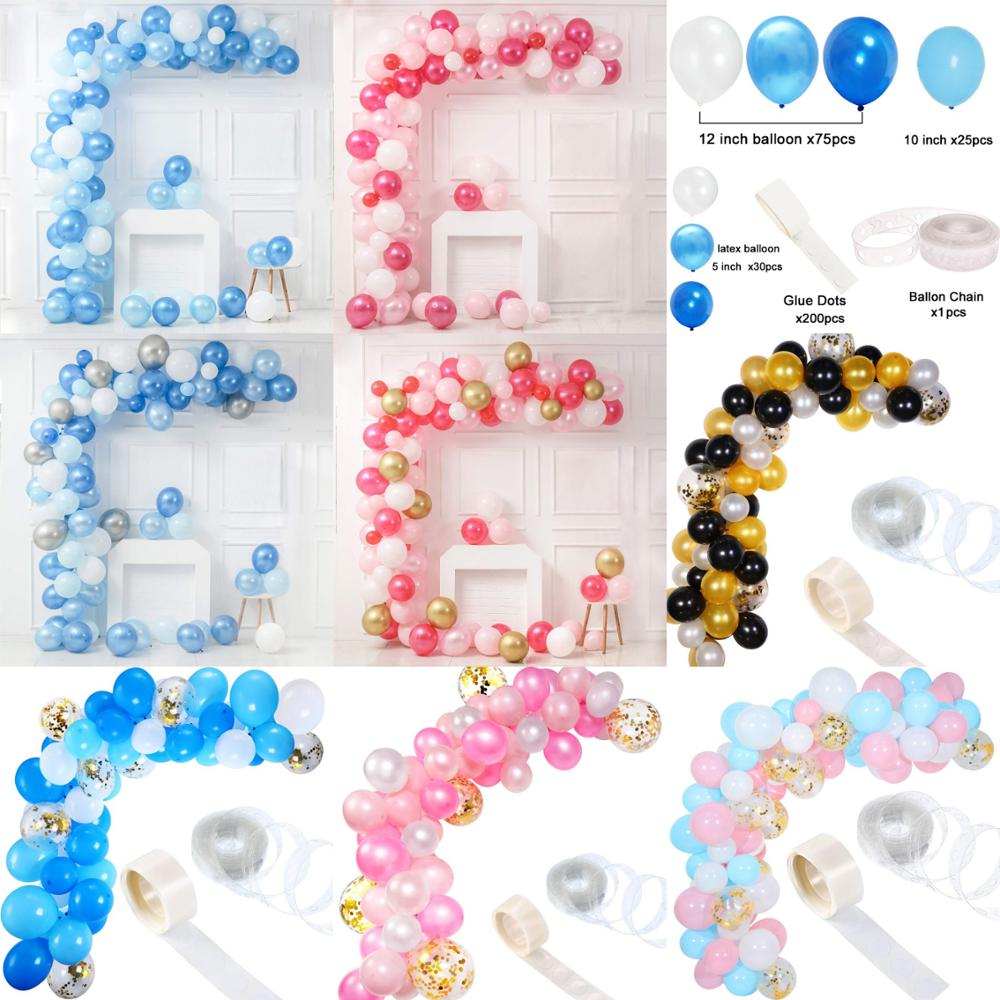 143pcs Blue Pink Balloons Garland Arch Babyshower Boy Girl Photobooth Decoration Wedding Birthday Graduation Photo Booth Props