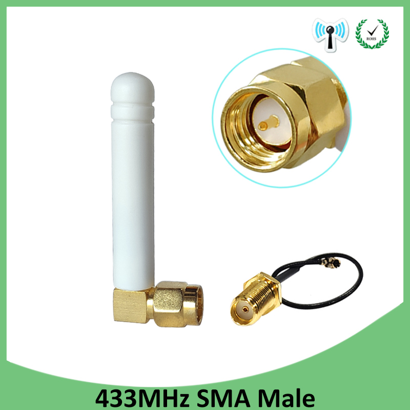 433MHz Antenna 3dbi SMA Male Connector Plug 433 MHz Directional Antena Small Size 433m Antenne + 21cm RP-SMA Pigtail Cable