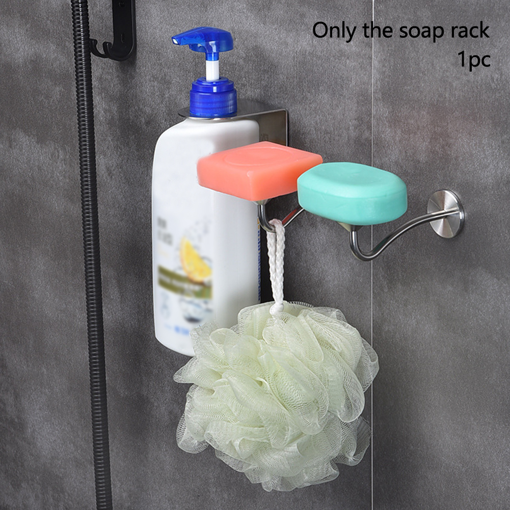 Soap Holder Wall Mounted Accessories Adhesive Rack Draining Dish Storage Magnetic Suction Tray Shower Bathroom Stainless Steel