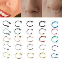 1pcs U בצורת מזויף האף טבעת חישוק מחץ טבעות נירוסטה האף פירסינג מזויף פירסינג תכשיטי נשים אביזרי האף הרבעה